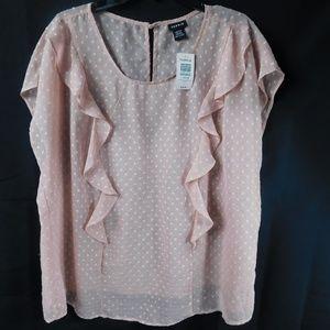 Torrid Size 1 Pastel Pink Sheer Ruffle Blouse